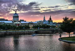 Old Montreal at sunset (` Toshio ') Tags: old sunset people canada building brick history classic water architecture clouds harbor montreal perspective basin historic dome oldmontreal oldtown marchebonsecours toshio