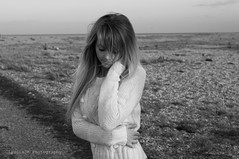 Untitled (ClaudiaJR) Tags: sea portrait woman white black beautiful female young blond