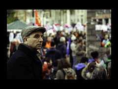 Autumn Protest Portrait (Sven Loach) Tags: uk november autumn portrait england man cold guy london 30 canon square demo dof britain candid coat profile protest streetphotography photojournalism flags nov30 explore cap holborn strike 5d unions beret protesters n30 bloke placards reportage markii checked strikers londonist 2011 publicsector lincolninnfields