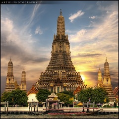 Wat Arun, Temple of the Dawn, Bangkok, Thailand :: HDR (Artie | Photography :: I'm a lazy boy :)) Tags: building architecture photoshop canon thailand temple bangkok westbank buddhist tripod kitlens structure 1855mm efs watarun hdr chaophraya artie chaophrayariver cs3 prang templeofthedawn 3xp photomatix tonemapping tonemap 400d rebelxti bangkokyai