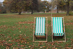 Everything and Nothing (Mia ) Tags: park wood uk autumn trees brown white green london fall nature leaves canon 50mm leaf chairs united kingdom hyde 7d khalid manal