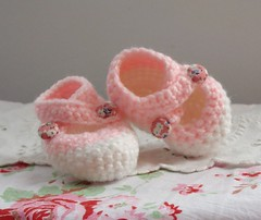 An Aunt's Gift (itchinstitchin) Tags: pink baby white holiday girl shower shoes handmade crochet craft yarn gift newborn button booties