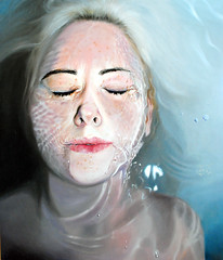 Quiet (Linnea Strid) Tags: portrait art water girl painting bath artist underwater oil closedeyes linneastrid