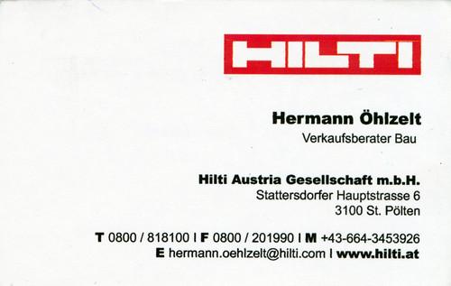 Visitenkarte Hilti Verkaufsberater Hermann öhlzelt A Photo