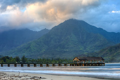 First Light above Hanalei Bay (rayman102) Tags: ocean mountain water clouds sunrise landscape hawaii pier waterfall hanaleipier hdr hanalei hanaleibay 70200f4lis 5dmarkii