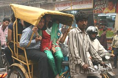 traffic in old-delhi (hatschiputh) Tags: india delhi streetscene chandnichowk chowk rishka