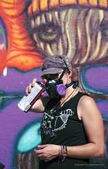 Artist at Wynwood Art District, Far and few women project.... (MigRodz) Tags: street art film colors portraits 35mm nikon women mural kodak miami f5 sb800 wynwood 35105mm