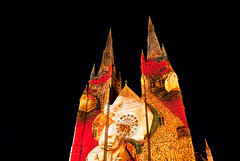 St Mary's Cathedral (Kokkai Ng) Tags: christmas new city travel light sky black tourism church night child cathedral image madonna mary jesus sydney australia illuminated celebration projection newsouthwales cbd clearsky stmarys madonnaandchild stmaryscathedral