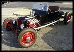 Fantastic Flathead Ford (Dusty_73) Tags: auto street cruise red hot classic ford car night vintage model engine hotrod rod custom rims v8 flathead visalia roadster a