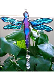 Stained Glass Dragonfly Suncatcher Iridescent (JasGlassArt - Stained Glass) Tags: blue green art home window glass dragonflies dragonfly handmade decorative stained suncatcher iridescent decor cobalt jasglassart