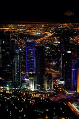 Doha ..* (    , ) Tags: city light sky tower night plane canon dark lights amazing d air 600 qatar d600 qtr       600d    ameera     amoora aldoha      doaha  qa6ar          q6a |