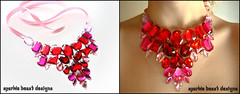 Romantic Red and Pink Rhinestone Statement Bib Necklace (Natalie52688) Tags: diy necklace colorful handmade unique bib creative floating jewelry jewellery illusion prom bridesmaid statement etsy bridal rhinestone sparkly gem bridalparty jewel costumejewelry sparklebeast
