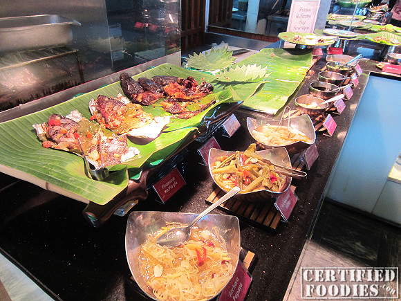 Seafood and veggie counter at Cabalen