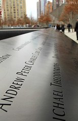 National September 11th Memorial (mlanza) Tags: nyc newyorkcity winter newyork stone museum memorial manhattan worldtradecenter 911 wtc names visitors etch lowermanhattan engraved september11th nationalseptember11memorial