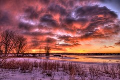 Last Sunrise of 2011 (Thad Roan - Bridgepix) Tags: park winter lake snow ice beach nature clouds sunrise landscape colorado denver chatfield facebook littleton 201112