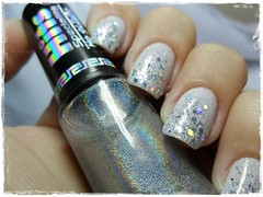 Happy New Year! (Francinii) Tags: white ice branco glitter star mani hits chunky happynewyear nailart holographic felizanonovo holo risqu hefesto panvel hologrfico specialitt glitterhexagonal polishmepink newyearmani