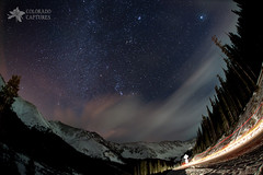 Milky Way Clouds Over Grizzly Peak (Mike Berenson - Colorado Captures) Tags: sky mountains night clouds stars colorado orion rockymountains lighttrails jupiter allrightsreserved lovelandpass pleiades grizzlypeak coloradocaptures copyright2011bymikeberenson