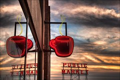 Seattle Coffee (IanGood) Tags: seattle sunset usa coffee canon wa pikeplacemarket washingtonstate hdr photomatix topazadjust 5dmk2