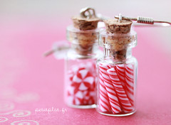 Peppermint Candy in Glass Jars Earrings (PetitPlat - Stephanie Kilgast) Tags: christmas xmas rainbow colorful candy small jewelry jewellery polymerclay fimo earrings minifood glassjar schmuck peppermint inedible candyjar miniaturefood fauxfood petitplat stephaniekilgast bijouxgourmands