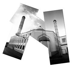 Wolsely Road Mosque (pho-Tony) Tags: blackandwhite bw panorama white black film monochrome collage analog trash 35mm toy iso800 fuji mask widescreen wide pic panoramic ishootfilm iso plastic thrift strip multiple analogue 135 cheap 800 narrow hockney multiframe charityshop fujicolor c41 widepic hockneyesque filmisnotdead tetenal fuji800pro 800pro widepicpanorama
