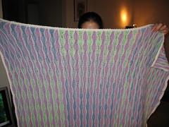Wavy Baby Blankie (Caladrien) Tags: blue baby white newyork green purple ripple crochet 2006 blanket afghan crafting