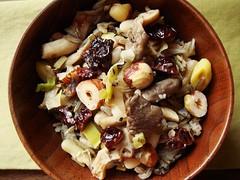Wild Rice with Flageolet, Leeks, Oyster Mushroom (ComeUndone) Tags: mushroom vegan vegetarian leek hazelnut wildrice epicurious flageolet oystermushroom ranchogordo gourmetmagazine driedcherry