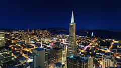 san francisco at night (andrew c mace) Tags: roof panorama rooftop skyline night cityscape aerial goldengatebridge coittower transamericabuilding hugin colorefex nikoncapturenx nikond90