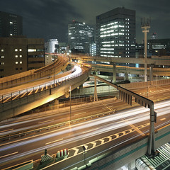 Forceful Branch (spiraldelight) Tags: urban japan tokyo traffic junction explore  lighttrails lightstream  hakozaki jct expressways    eos5dmkii tse17mmf4l hakozakijunction suitegumae fromroyalparkhotel