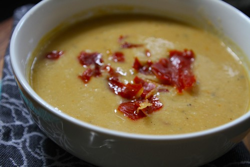 white bean soup with crisped prosciutto