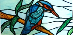 Kingfisher window (stainedglassartist) Tags: sunwindow stainedglasskingfisher schoolwindows moonwindow moodroomwindowsforaschool stainedglassrobin