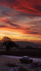 Taken Back (Natasha Bridges) Tags: morning trees winter light sunrise dawn frost colours fields landrover series2 wrekin