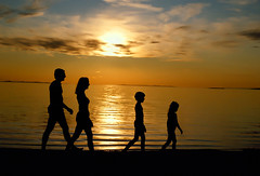 "Family Walking On Beach At Sunset (IronRodArt - Royce Bair (""Star Shooter"")) Tags: ocean family sunset sea summer vacation sky people beach silhouette kids children fun golden evening togetherness warm time good walk shoreline together shore summertime activity stroll seashore strolling"