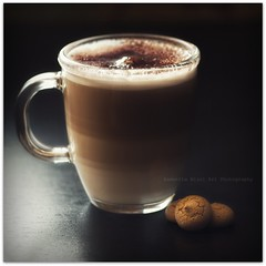Coffee & Biscuits (Samantha Nicol Art Photography) Tags: life cup glass coffee square milk yummy still nikon dof drink bokeh chocolate biscuits layers samantha cappuccino froth nicol