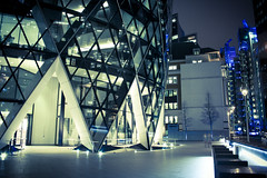 London's Finest Architecture (Jonathan.Russell) Tags: door light people colour building tree london architecture night canon bench walking time ghost processing gherkin willis lloyds lightroom 40d