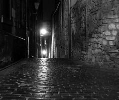 Edinburgh's darker side (7) (Tony Worrall) Tags: city uk light wet lamp dark way scotland alley edinburgh shadows shine image grim path north stock scottish tony walkway bleak british through passage oldtown atmospheric pathway damp ginnel echos passageway olden ©2012tonyworrall