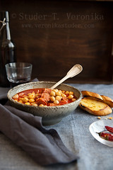 Comforting chickpea soup (StuderV) Tags: winter food hot cold tomato soup nikon chili chorizo comfortfood chickpea foodphotography foodstyling d700 tabletopstyling