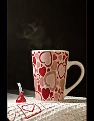 A Warm Cuppa Love and a side of chocolate :) (S_Freer) Tags: red cup coffee hearts nikon heart 71 steam mug hersheyskiss cupmugglass d7000 {sfreer} thegreat150scavengerhunt heartschallenge20123