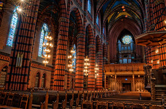 St. Johannes Church III (Henrik Sundholm.) Tags: door brick church architecture painting religious lights candles floor chairs sweden stockholm path interior bricks christian aisle organ sverige benches pillars confessional hdr gothicrevival norrmalm johanneskyrka perspectivedistortion paintedwindow nygotisk