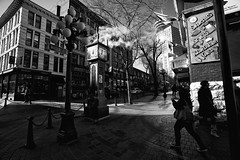 At Steam Clock (Junnn) Tags: blackandwhite bw canada vancouver gastown steamclock canonef1740mmf4lusm 1740mmf4 canoneos5dmarkii silverefexpro2