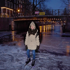Samantha enjoys skating by night (Bn) Tags: pink blue houses winter people cold holland ice netherlands dutch amsterdam night geotagged lights frozen twilight downtown iceskating skating joy kinderen nederland freezing first romance skaters canals age skate romantic prinsengracht temperature mokum occasion rare grachten pleasure skates blades winters stad harsh jordaan 2012 d66 ijs gluhwein schaatsen koud amsterdamse ijspret hendrick chocolademelk grachtengordel hollandse oudhollands gekte winterse sferen avercamp ijzers ijsplezier geo:lat=52365292 jordanezen ijsnota geo:lon=4884080