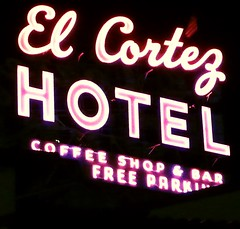 Hotel Entrance (Elizabeth Horton) Tags: lasvegas neonsign elcortezhotel