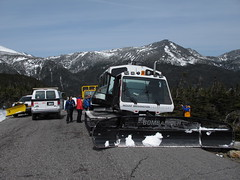 Traffic jam at treeline (rightthewrong) Tags: auto road new white snow tractor mountains cat truck washington spring mt adams shift peak nh hampshire presidential clear mount observatory summit april change plow van treeline range apr observers obs bombardier 2014 mwo presidentials