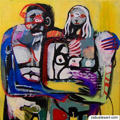 "Zabu Stewart - ""Nudist Couple with Rooster"" (Zabu Stewart) Tags: painting artwork acrylic mixedmedia contemporaryart contemporary modernart primitivism neoexpressionism zabustewart zabustewartart zabustewartartwork zabustewartfineart"