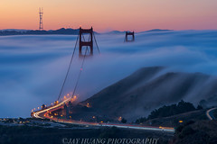 Three Towers (Jaykhuang) Tags: sanfrancisco california morning car sunrise bayarea gateway sausalito lighttrail lfe lowfog goldergatebridge jayhuangphotography