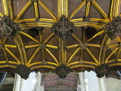 Parish Church of St Laurence, Ludlow (pefkosmad) Tags: tower church angel worship shropshire interior pipes chapel indoor ceiling ludlow organ nave vault lantern chancel stlaurence placeofworship parishchurch roodscreen