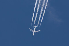Another 'garden shot'.   LA bound at 32,000 ft (PIX SW) Tags: airplane airbus airbusa340 contrails sky passengeraircraft swiss swissair hbjmm