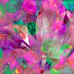 Pink Tulip Fiesta (virtually_supine) Tags: abstract collage photomanipulation spring tulips creative vivid textures oxford layers diffusion paintdaubs impressionist drybrush oxfordbotanicgardens digitalartwork vividartchallenge3vividspringblossoms photoshopelements9and13 restoregardens challenge1420~pinkandgreen~theawardtree