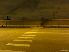 Sidewalk and crosswalk to nowhere (Steven Vance) Tags: wall night nowhere sidewalk metra southloop crosswalk sarcasm clarkstreet stcharlesairline