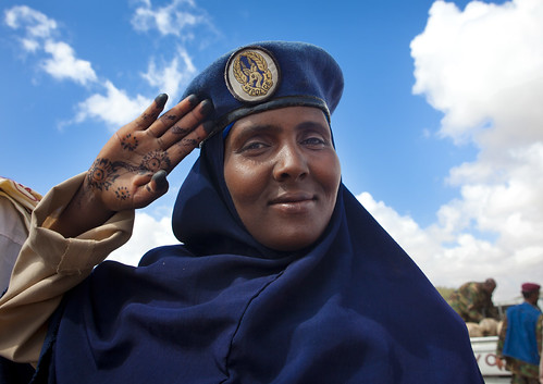Somaliland Police woman with henna on the hand