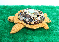 Button Shell Wool Tortoise (GezuntehMoid) Tags: family pink blue pets white bunnies wool animals easter daddy toys four grey knitting turtle african sandy nursery gray tortoise babygirl childrens critters rabbits mummy creatures bigears armored babyboy playroom cottontail mustardy buttonshell